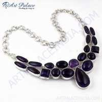 Precious Antique German Silver Necklace With Amethyst