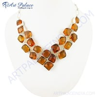 New Extra Shine Yellow Glass Gemstone German Silver Necklace Jewelry