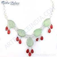 Premium Designer Carnelian & Prenite Gemstone German Silver Necklace