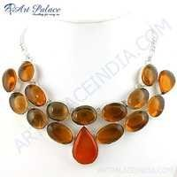 Charming Amber & Bear Quartz Gemstone German Silver Necklace Jewelry