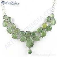 Cool Gemstone German Silver Necklace With Prenite