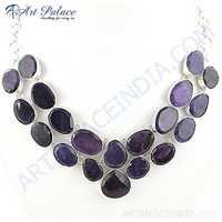 Precious Amethyst Gemstone German Silver Necklace