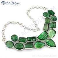 Costume Jewelry, Green Glass Gemstone German Silver Necklace