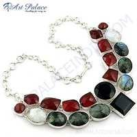 Fashionable Multi Stone German Silver Necklace