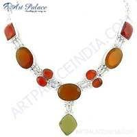 Fantastic Fashionable Lemon Quartz & Red Onyx Gemstone German Silver Necklace