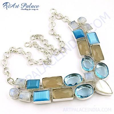 Classy Multi Stone German Silver Necklace