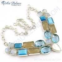 Classy Multi Stone German Silver Necklace