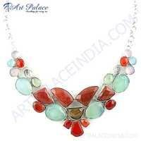 Exclusive Multi Stone German Silver Necklace Jewelry