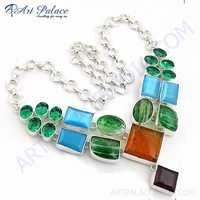 Celeb Style Multi Stone German Silver Necklace Jewelry