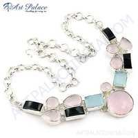 Lovable Multi Gemstone German Silver Necklace