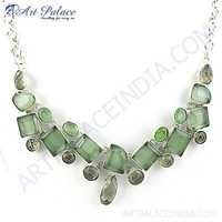 Royal Green Amethyst & Green Glass Gemstone German Silver Necklace