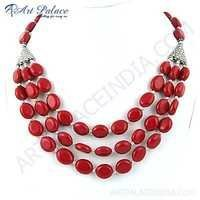 New Arrival Synthetic Coral Gemstone German Silver Necklace