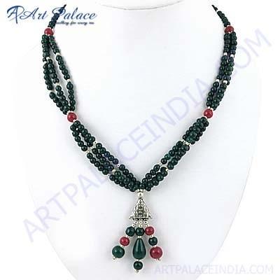 Premium Designer Dyed Ruby & Dyed Emerald Gemstone German Silver Necklace