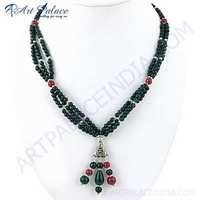 Premium Designer Dyed Ruby & Dyed Emerald Gemstone German Silver Necklace