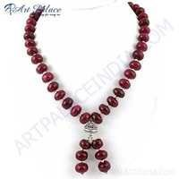 Indian Touch Dyed Ruby Gemstone German Silver Necklace Jewelry