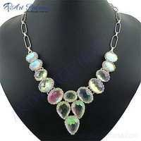 Fashion Accessories Drusy Glass Gemstone German Silver Necklace