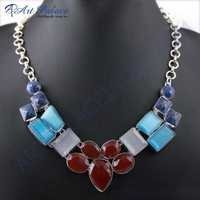 Elegant Multi Stone German Silver Necklace