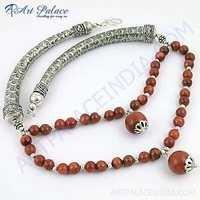Truly Designer Synthetic Brown Sandstone Gemstone German Silver Necklace
