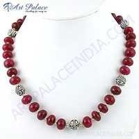 Unique Style Dyed Ruby Gemstone German Silver Necklace