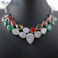 Attractive Multi Stone German Silver Necklace