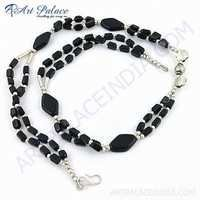 HOT!!! Luxury Black Onyx Gemstone German Silver Necklace