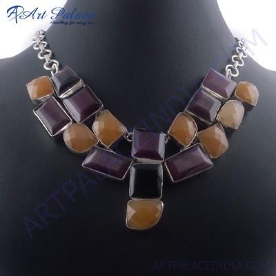 Cool Aqua Calchydony, Black Onyx & Purple Glass German Silver Necklace