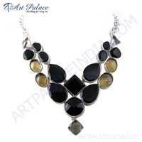 Sensational Black Onyx, Crystal & Lemon Quartz Gemstone German Silver Necklace