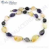 Picture Perfect Clear Amethyst & Citrine Gemstone German Silver Necklace