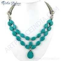 Indian Touch Synthetic Turquoise Gemstone German Silver Necklace