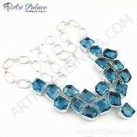 Classic Blue Glass Gemstone German Silver Necklace