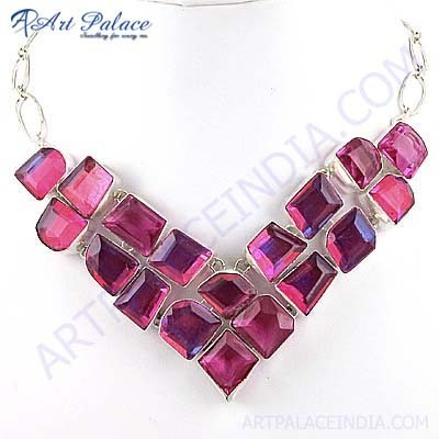 Charming Pink Glass German Silver Necklace