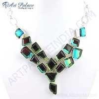 New Shiney Labradorite Glass Gemstone German Silver Necklace