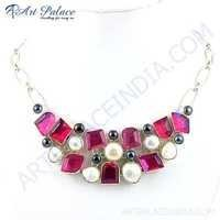 Shiney Black Pearl, Pearl & Pink Glass Gemstone German Silver Necklace