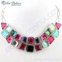 Charming Drusy Glass & Pink Glass German Silver Necklace
