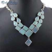 Pretty Aqua Calchydony German Silver Necklace