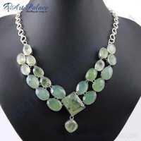 Graceful Aqua Calchydony & Prenite German Silver Necklace