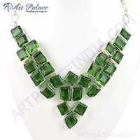 New Shiney Peridot Gemstone German Silver Necklace