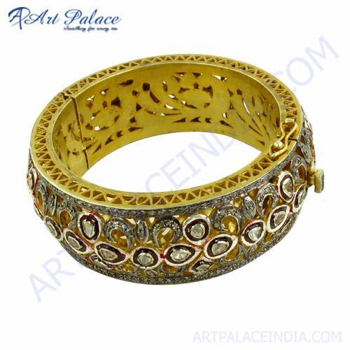 Gold Plated Diamond Victorian Bangles