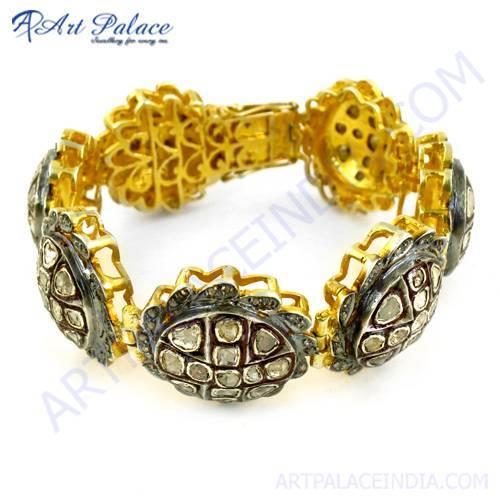 Polki Diamond Silver Bracelet Victorian Jewelry