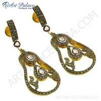 Traditional Gold Plated Silver Diamond Earrings