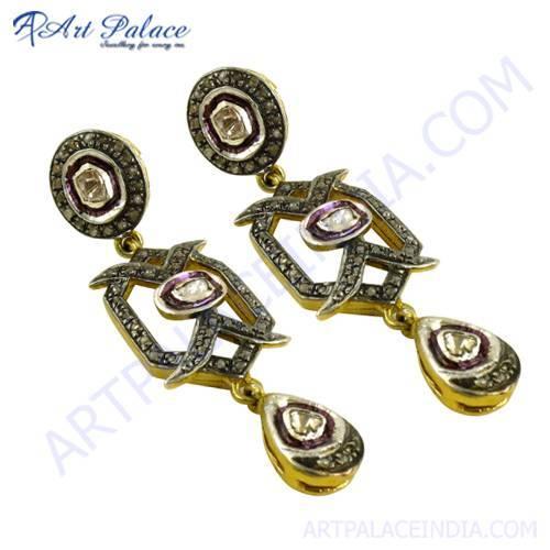 Designer Gold Plated Diamond Earrings