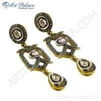 Designer Gold Plated Diamond Earrings