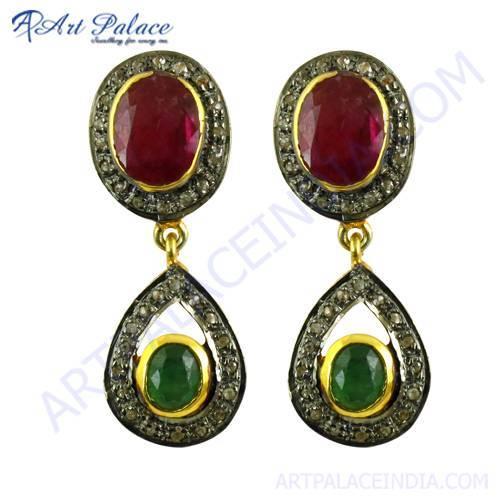 Emerald & Ruby Victorian Earrings