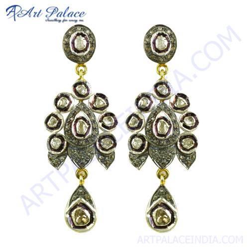 Party Wear Diamond Gold Plated Earrings