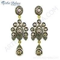 Party Wear Diamond Gold Plated Earrings
