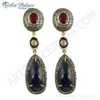 Ruby & Sapphire Gold Plated Silver Earrings Jewelry