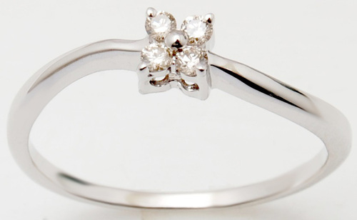 18K White Gold Small Diamond Ring Design For Cute