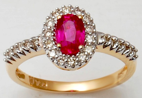 Natural Red Ruby And Diamond Ring In Prong Setting