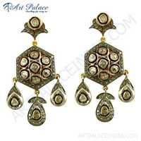 Wedding Jewelry, Victorian Gold Plated Silver Diamond Earrings