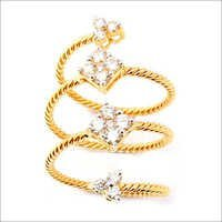 Real Diamond Spiral Finger Ring Design For Girls